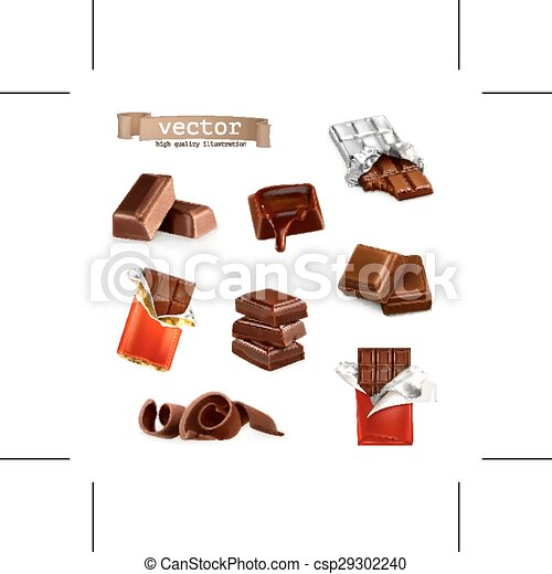 Chocolate bars and pieces, vector set - csp29302240