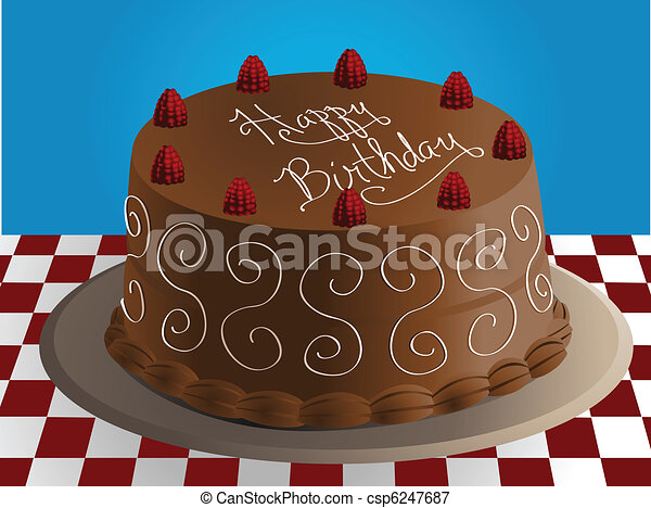 Birthday Cake Images Vektor ~ Vector illustration of a chocolate birthday cake with vectors