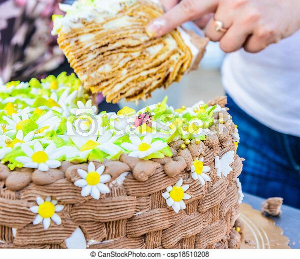 Chocolate Birthday Cake Cutting Knife To Slice Large Festive