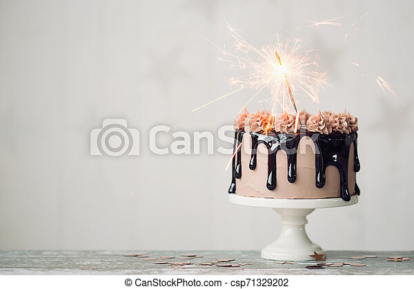 Brilliant Chocolate Birthday Cake Chocolate Drip Cake With Sparkler For A Funny Birthday Cards Online Fluifree Goldxyz