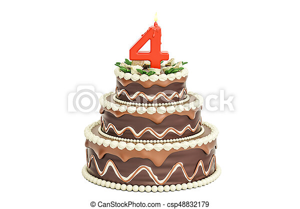 Chocolate Birthday Cake With Candle Number 4 3D Rendering