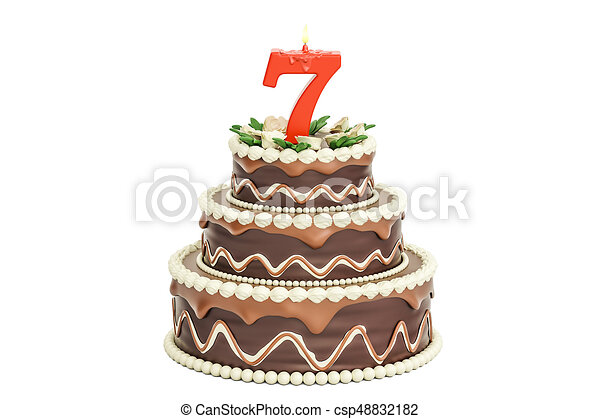 Chocolate Birthday Cake With Candle Number 7 3D Rendering