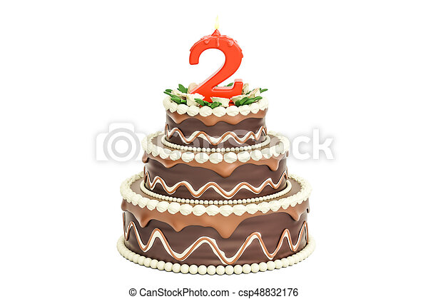 Chocolate Birthday Cake With Candle Number 2 3d Rendering