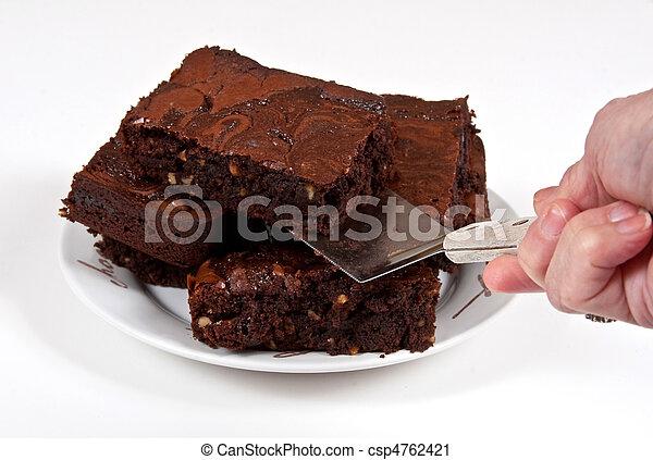 Chocolate Brownies Being Served - csp4762421