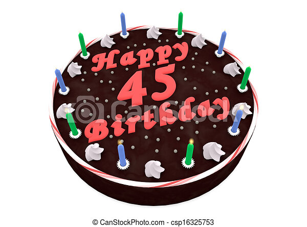 Marvelous Chocolate Cake For 45Th Birthday Chocolate Cake With Happy Personalised Birthday Cards Paralily Jamesorg