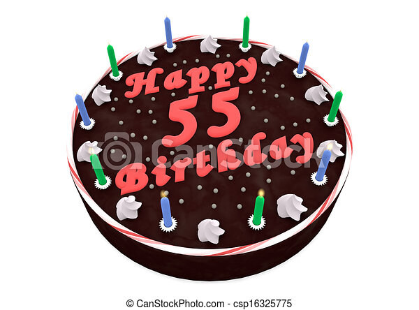 Chocolate cake for 55th birthday. Chocolate cake with happy birthday ...