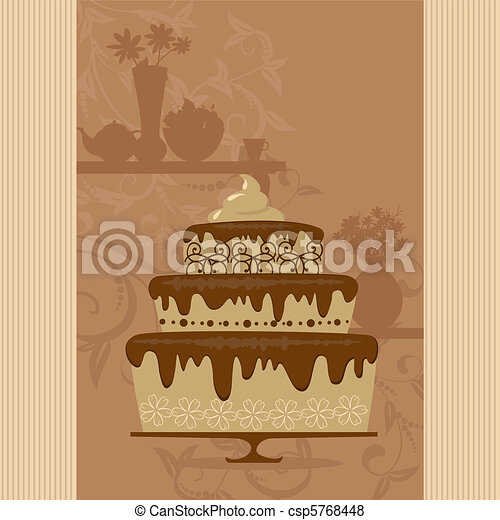 chocolate cake in a candy store - csp5768448