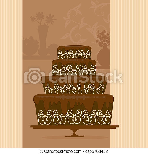 chocolate cake in a candy store - csp5768452