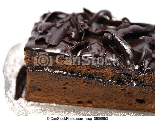 Chocolate cake on white background - csp10906953