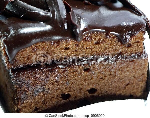 Chocolate cake on white background - csp10906929