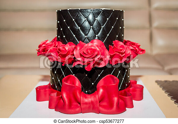 Chocolate Cake Birthday With Red Roses And Big