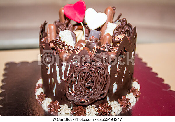 Pleasant Chocolate Cake Chocolate Birthday Cake With Small Cakes And Two Funny Birthday Cards Online Elaedamsfinfo