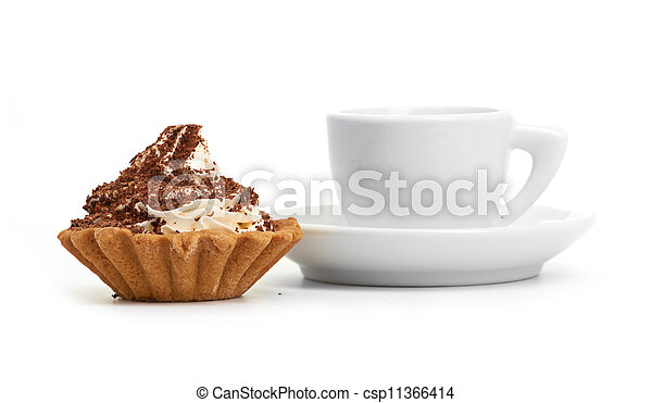 chocolate cake with a cup of coffee - csp11366414