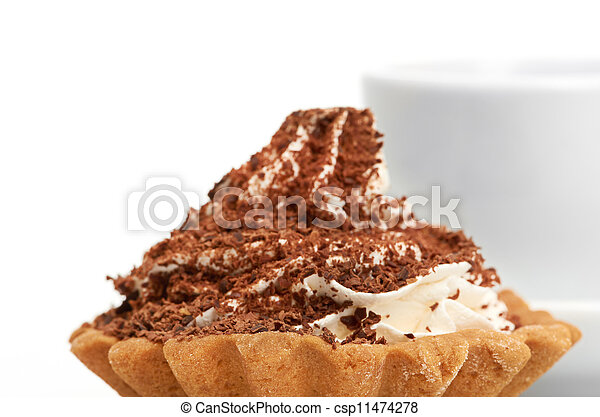 chocolate cake with a cup of coffee - csp11474278