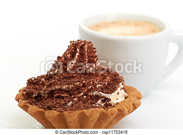 chocolate cake with a cup of coffee - csp11753418