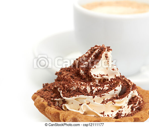 chocolate cake with a cup of coffee - csp12111177