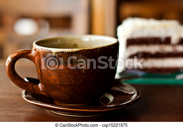 Chocolate cake with a cup of coffee - csp15221875