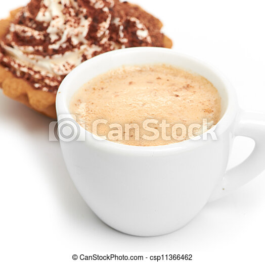 chocolate cake with a cup of coffee - csp11366462