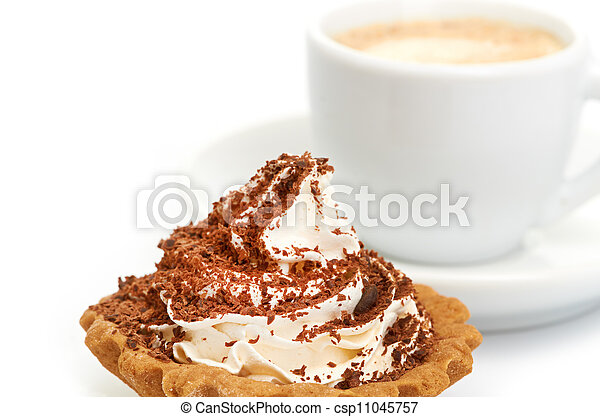 chocolate cake with a cup of coffee - csp11045757