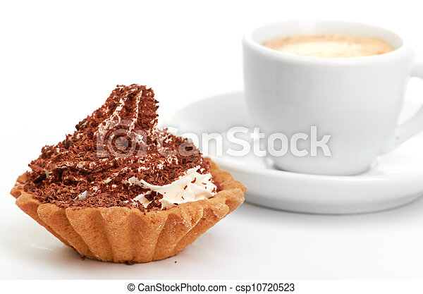 chocolate cake with a cup of coffee - csp10720523