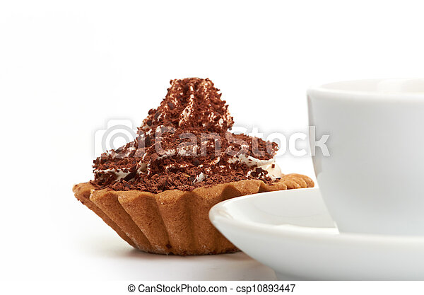 chocolate cake with a cup of coffee - csp10893447