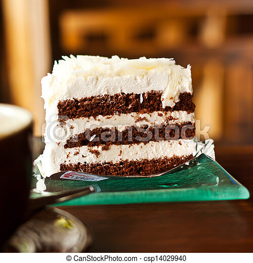 Chocolate cake with a cup of coffee - csp14029940
