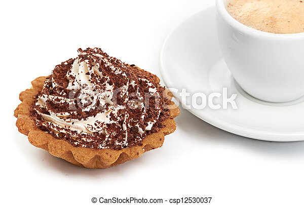 chocolate cake with a cup of coffee - csp12530037