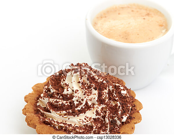 chocolate cake with a cup of coffee - csp13028336