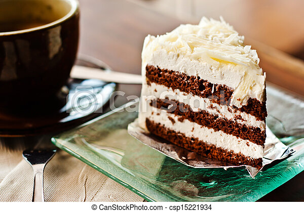 Chocolate cake with a cup of coffee - csp15221934