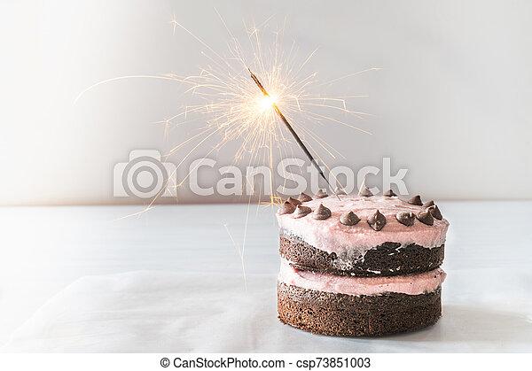 Magnificent Chocolate Cake With Sparkler Light Background Chocolate Birthday Funny Birthday Cards Online Inifodamsfinfo