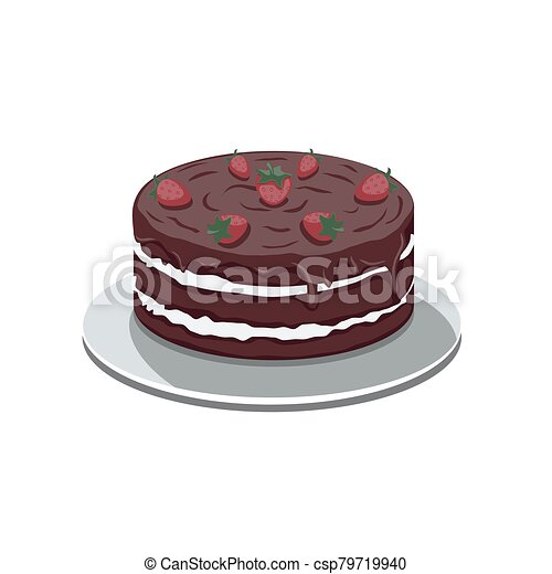 Chocolate cake with strawberries on a white isolated background. Vector image - csp79719940