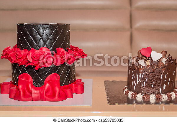 Chocolate Cakes Two Birthday With Red Roses And Big