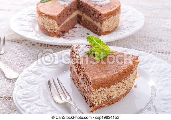chocolate cakes with nut filling - csp19834152