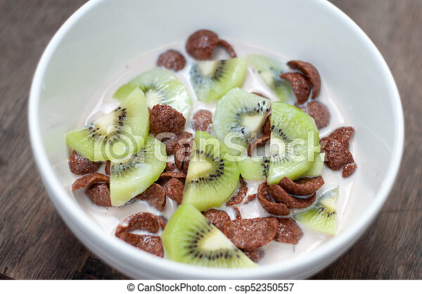 Chocolate Cereal in a bowl - csp52350557