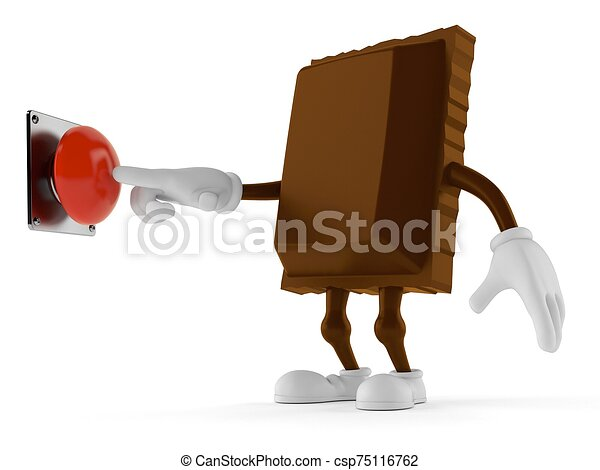 Chocolate character pushing button on white background - csp75116762