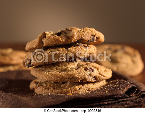 chocolate chip cookies shot with selective focus. - csp10993846