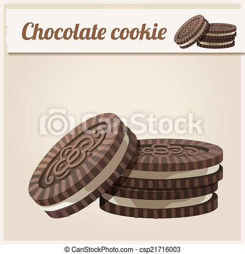 Chocolate cookie. Detailed Vector Icon.  - csp21716003