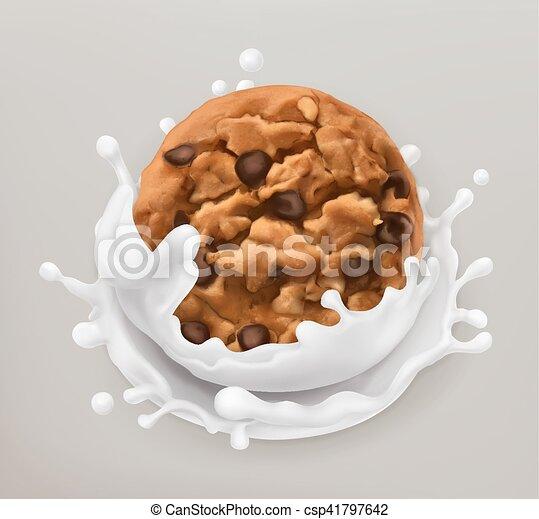 Chocolate cookies and milk splash. Realistic illustration. 3d vector icon - csp41797642