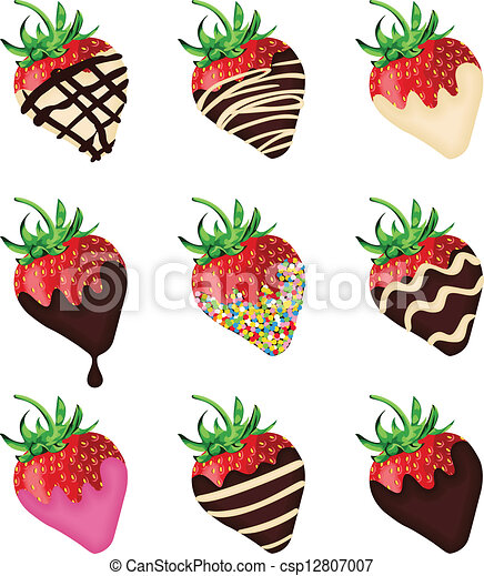 Chocolate Covered Strawberries Scalable Vectorial Image Representing A Chocolate Covered Strawberries Isolated On White Canstock