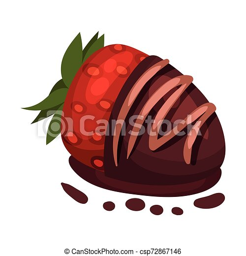 Chocolate Covered Strawberries Vector Illustration On A White Background Strawberry Is Half Covered With Chocolate Canstock