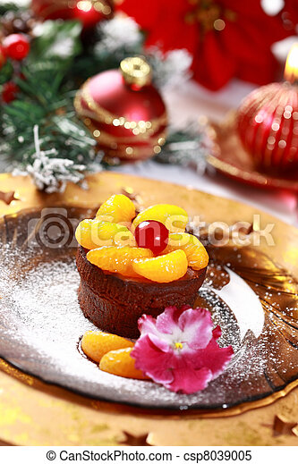 Chocolate Cup Cake for Christmas - csp8039005