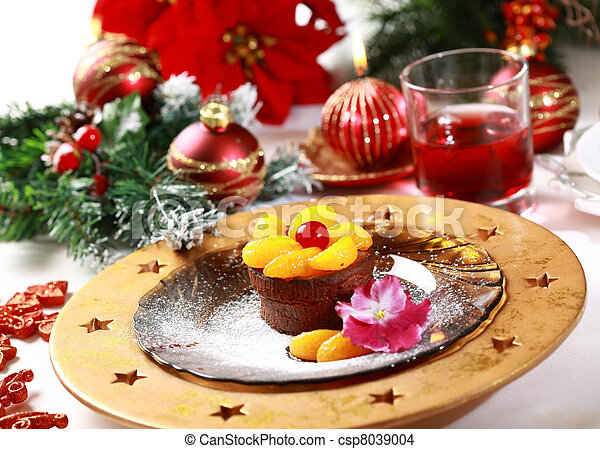 Chocolate Cup Cake for Christmas - csp8039004