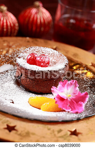 Chocolate Cup Cake for Christmas - csp8039000