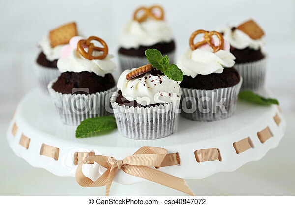 Chocolate Cupcakes On A Stand Close Up