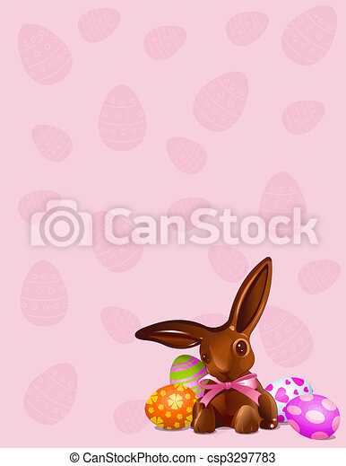 Chocolate Easter bunny background - csp3297783