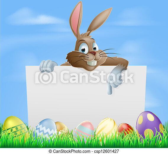 Chocolate Easter eggs sign - csp12601427