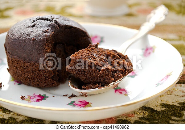 Chocolate fondant souffle cake with whipped cream on decorative plate - csp41490962 & Chocolate fondant souffle cake with whipped cream on... stock image ...