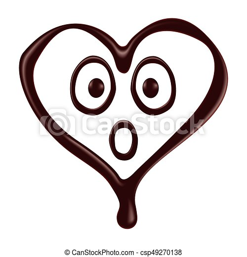 chocolate heart shape smiley face on white background vectors rh canstockphoto ie Stilling Hearts Chocolate Chip Clip Art