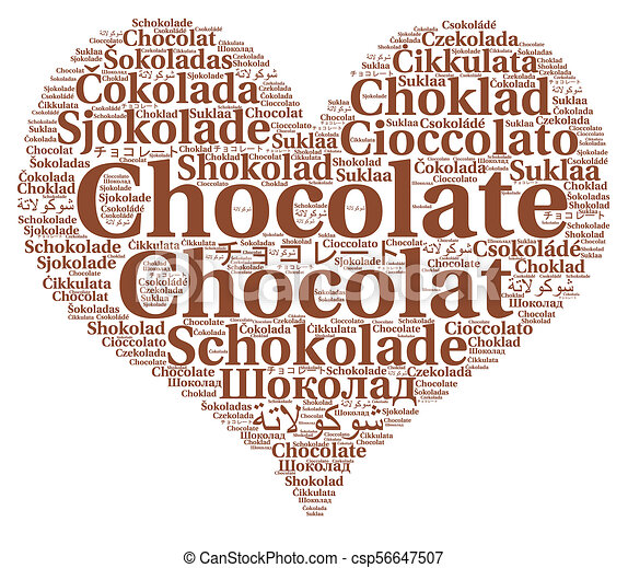 how to write chocolate in different languages