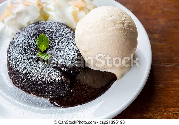 lava taart Chocolate lava cake. lava taart